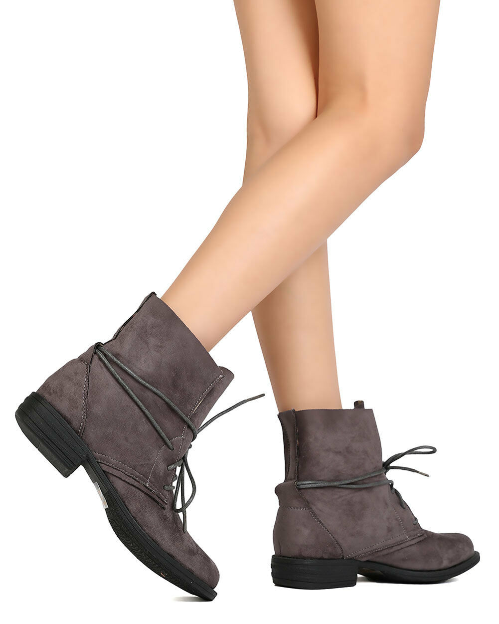New Women Betani Sabrina-10 Faux Suede Flared Collar Wraparound Lace Up Bootie