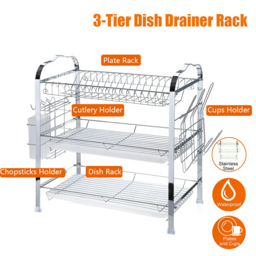 Over Sink Dish Drying Rack Drainer Stainless Steel Kitchen Cutlery Holder  O