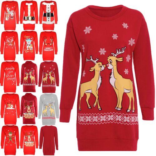 Women Ladies Christmas Xmas Two Reindeer Jumper Long Sleeve Sweatshirt Dress Top