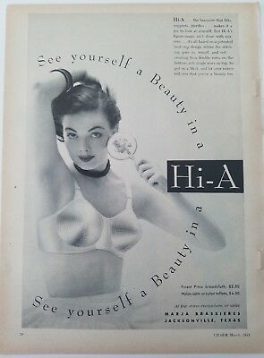 Advertising-print Merchandise & Memorabilia 1953 Women's Marja Hi-a Bra See Yourself A Beauty Vintage Fashion Ad
