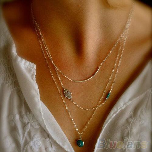 Lady New Design Boho Hamsa Fatima Hand Evil Eye Bead Turquoise Pendant Necklace