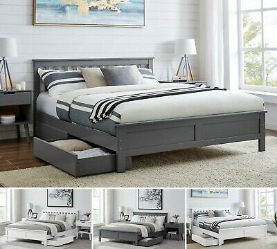 Single Double King White Grey Bed Frame