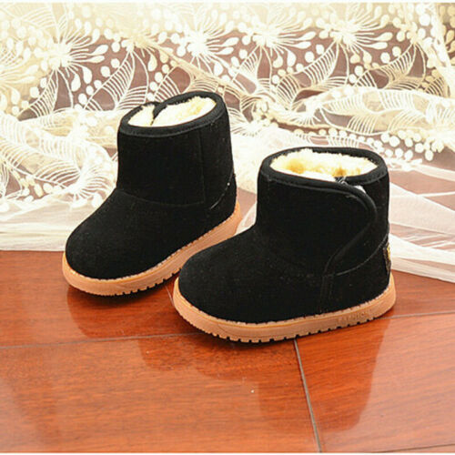 US Baby Kids Boys Girls Winter Warm Snow Boots Furry Soft Sole Crib Shoe Toddler