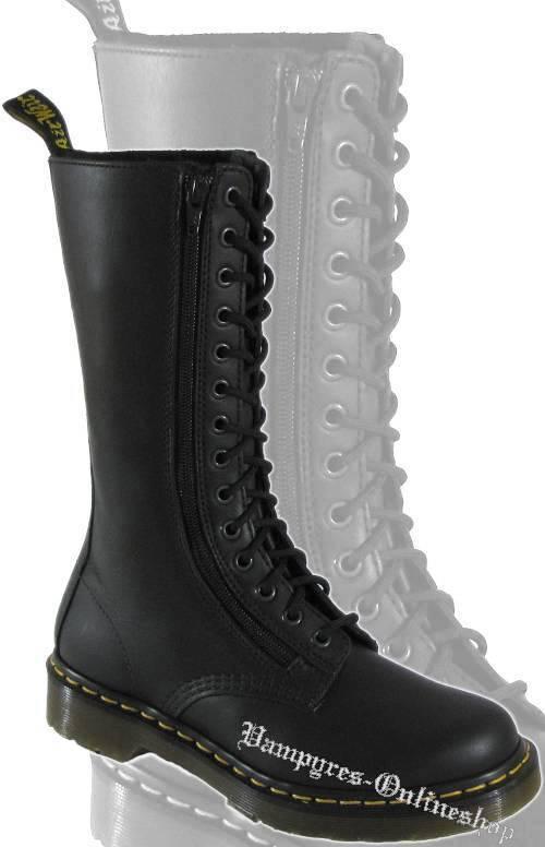 Dr. Martens 14-Loch Stiefel 9733 Illusion RV Schwarz Docs Boots Doc Schuhe Zip