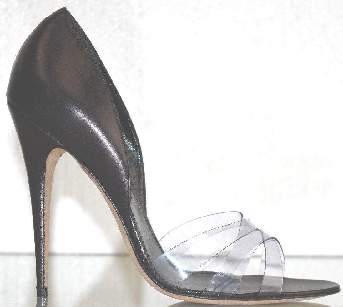 economico e di alta qualità  775 NEW MANOLO BLAHNIK Clear Clear Clear MINIA PUPMS nero LEATHER PVC HEELS scarpe 40.5  risparmia fino al 70%