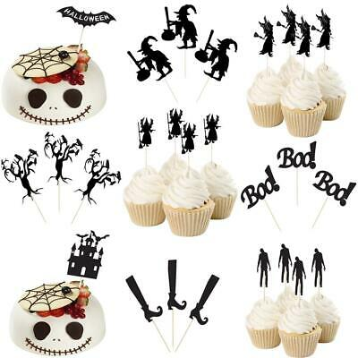 20pcs Funny Halloween Bat Wizard Cupcake Pick Cake Topper Hallowmas Party Decor