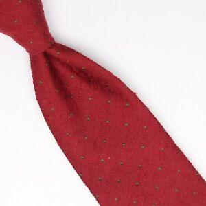 John-G-Hardy-Mens-Shantung-Silk-Necktie-Red-Green-Polka-Dot-Weave-Woven-Slubby