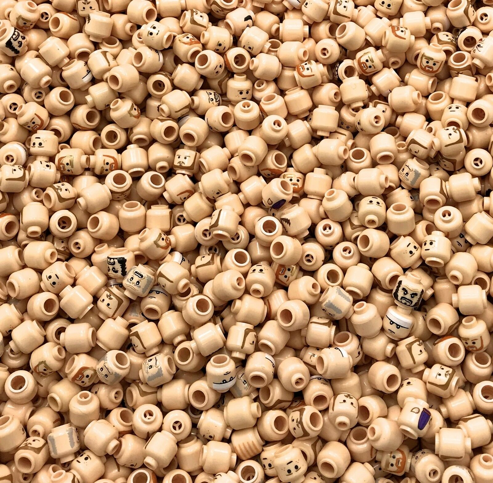 LEGO LOT OF 100 NEW FLESH COLOrosso MINIFIGURE MINIFIG HEADS STAR WARS MORE