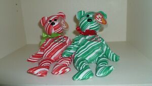 TY - BEANIE BABIES - HOLIDAY TEDDYS - RED & GREEN - SET OF TWO - CHRISTMAS
