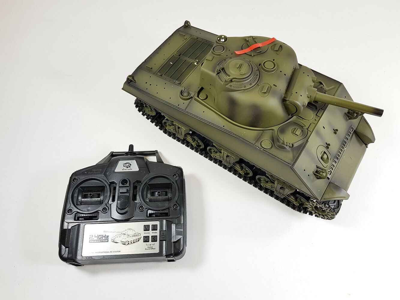 La vendita telecomando USA ww2 Sherman RC FUMO Sound 2.4g ESERCITO BATTAGLIA TANK Model