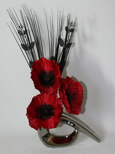 Artificial silk flower arrangement red poppies in small silver image is loading artificial silk flower arrangement red poppies in small mightylinksfo