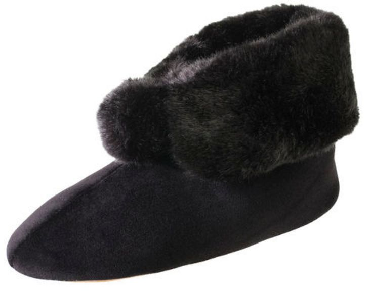 isotoner Signature Black Plush Velour Faux Fur Bootie Slipper w/Memory Foam