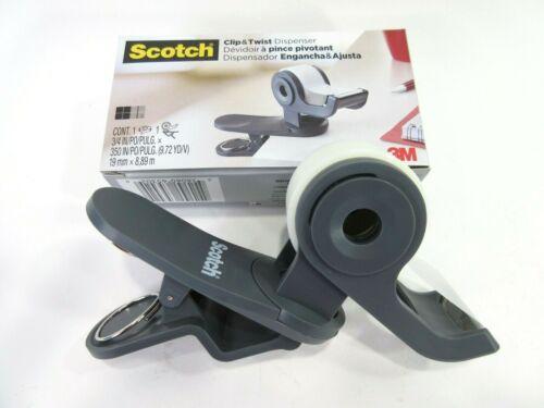 3M Scotch Clip /& Twist Desktop Tape Dispenser SWIVELS ONE HAND WRAPPING AMAZING!