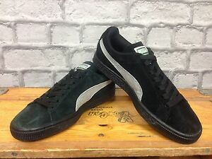 PUMA-LADIES-UK-5-CLASSIC-SUEDE-BLACK-SILVER-TRAINERS