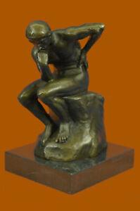 Rodin-Thinker-Symbol-of-Philosophy-Bronze-Sculpture-Hot-Cast-Marble-Base-Deal