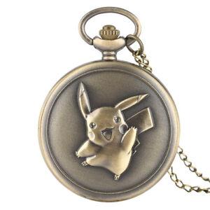 Pikachu-Pokemon-Bronze-Quartz-Pocket-Watch-Necklace-Pendant-Children-Kids-Gift