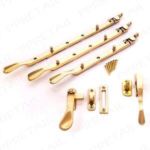 Quality-SOLID-BRASS-Casement-Window-Latch-Screws-8-034-10-034-12-034-Arm-Catch-Stay