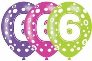 AGE 5 PARTY DECORATIONS 5th BIRTHDAY 6 LARGE BALLOONS HELIUM QUALITY  27.5cm