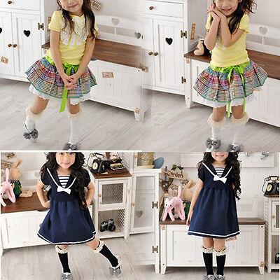 Infants Kids Girls Cotton Lace Socks School High Knee Socks Tights Stockings