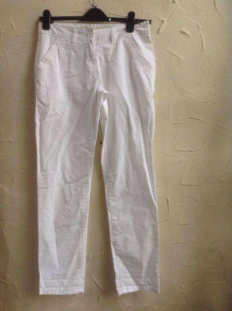???? ❤ ** Neww ???? ** Next Taille 8r (36) Blanc Pantalon Chino Rrp £ 20
