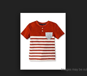 Genuine Kids Toddler Boys 2T Painted Desert Red Stripe Henley Short Sleeve Shirt