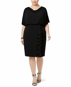 Details about Jessica Howard Womens Plus Size Dress Draped Ruffle Blouson  Jersey Dress Black
