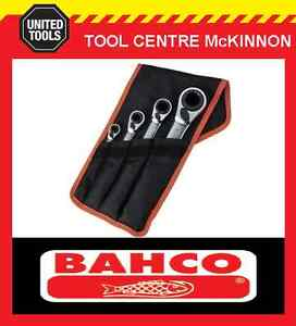 BAHCO-S4RM-4T-4pce-REVERSIBLE-8-27mm-RATCHET-RING-SPANNER-SET-16-SIZES