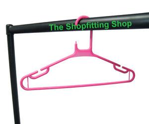100 x ADULT PINK COAT HANGERS HANGER COATHANGER STRONG PLASTIC CLOTHES DRESS | eBay