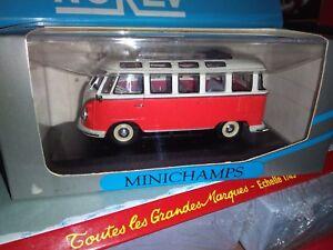 Minichamps 1/43 Vw Bus Samba Red Crem Neuf En Boite