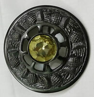Mens Fly Plaid Brooch Yellow Stone Antique Finish/thistle Brooches For Fly Plaid