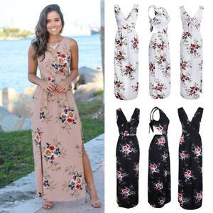 Women-039-s-Boho-Maxi-Dress-Summer-Beach-Cocktail-Evening-Party-Floral-Sundress