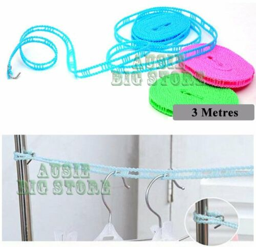 5 Metre 3 Metre Adjustable Clothes line Hanger Nylon Rope Liner Dry Air w hook