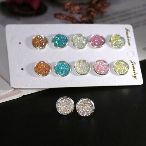 6 Paire En Acier Inoxydable Brillant autrichienne Crystal Round Studs Boucles d/'oreilles Chic Bijoux
