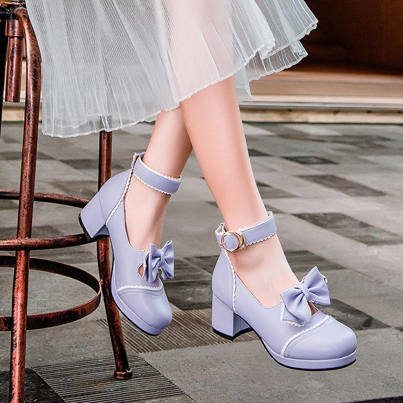 Sweet Womens stylish Lolita Round Toe Bowknot Ankle Strap Chunky Heel Mary Janes