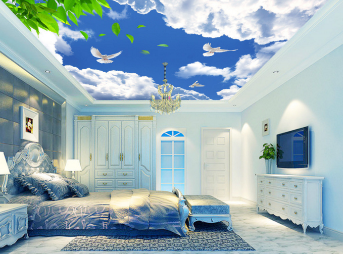 3D Clouds Bird 753   Ceiling WallPaper Murals Wall Print Decal Deco AJ WALLPAPER