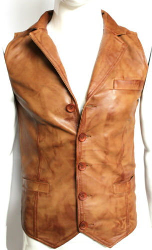 Mens Gents NEW TAN 5 Button Classic Designer Casual Party 100/% Leather Waistcoat