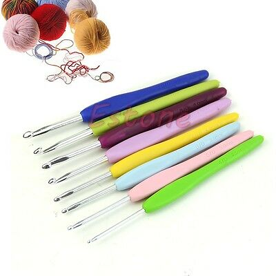 8X Aluminum Crochet Hook Needles Knitting Knit Tool 2.5-6mm Soft Plastic Handle