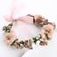 Princess-Wedding-Bridal-Coffee-Pearl-Rose-Flowers-Silk-Ribbon-Hair-Band-Headband miniature 1