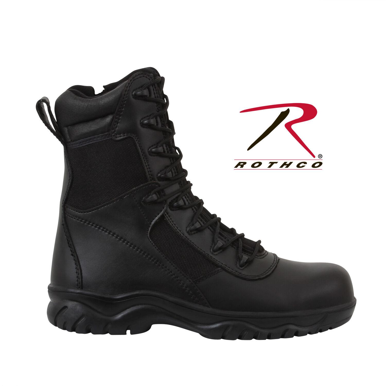 rojohco 5063 8  botas tácticas de entrada forzada con Cremallera Lateral Negro & Composite Toe
