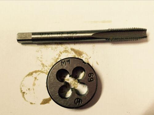 1pc HSS Machine M7 X 1mm Plug Tap and 1pc M7 X 1mm Die Threading Tool