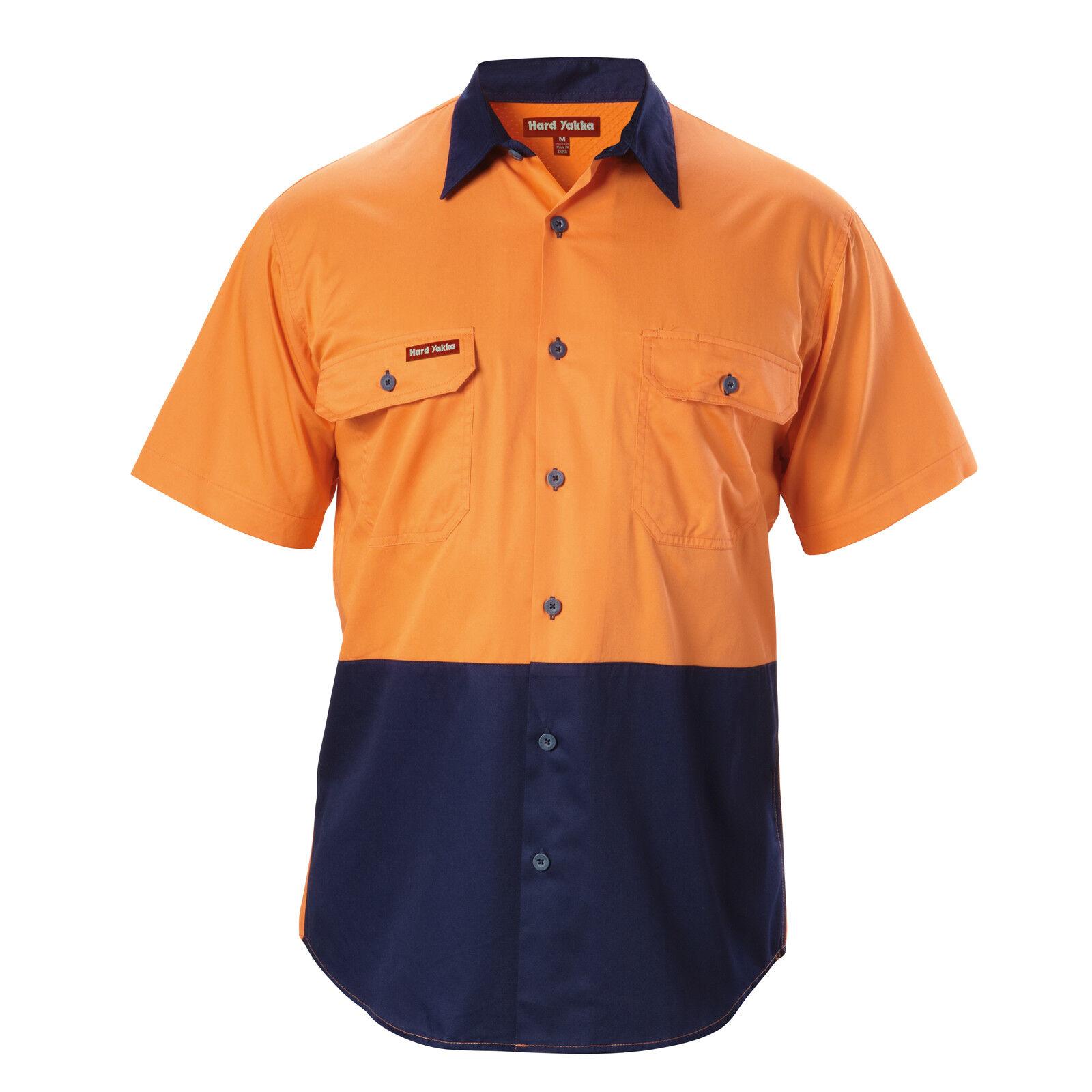 Hard Yakka KOOLGEAR SHORT SLEEVE SHIRT orange Navy - Size 2XL, 3XL, 4XL Or 5XL