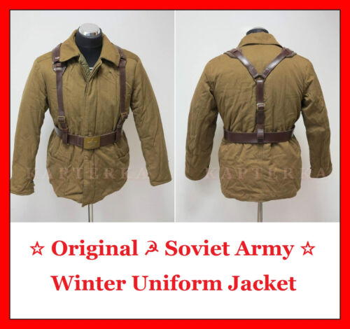 Original Soviet Russian Red Army Winter Uniform Jacket + Belt + Suspenders
