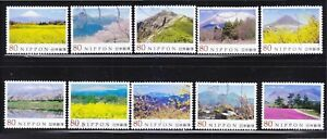 JAPAN-2013-JAPANESE-MOUNTAIN-SERIES-2ND-ISSUE-COMP-SET-OF-10-STAMPS-FINE-USED