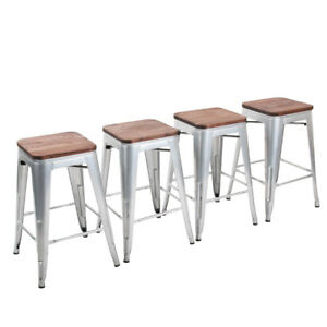 Set-of-4-Bar-Stools-24-039-039-Metal-Steel-Counter-Stool-Wooden-Cushion-Chair-Silver