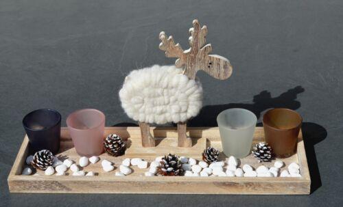 47x14,5x2,5 cm mit Elch und 4 Teelichtergläser NEU!! Holztablett ca /%SALE/%