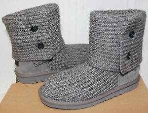 790c07ef40a Details about Ugg Kids Cardy II 2 Grey Crochet Knit boots 1017328K NEW With  Box