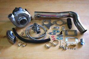 T3/T4 Hybrid Turbocharger Kit T3 T4 Turbo -4an Line Kit, Downpipe SS Kit, BOV