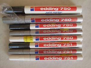 edding paint marker 750 751 780 wei silber schwarz ebay. Black Bedroom Furniture Sets. Home Design Ideas