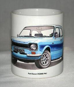 Classic Car Mug. Ford Escort RS2000 Mk1 hand drawn illustration.
