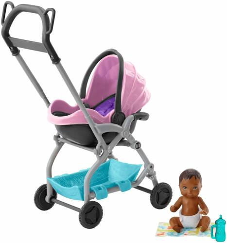 Barbie SKIPPER BABYSITTER BABY DOLL E Rimovibile Sedile Playset Passeggino Nuovo